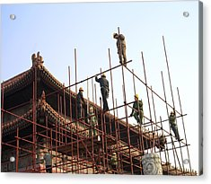 Workers Climb Scaffolding On The Palace Acrylic Print by Justin Guariglia