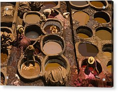 Workers In The Tanneries Of Fez Soak Acrylic Print by Annie Griffiths