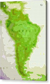 World Map - South America - Abstract Acrylic Print by Steve Ohlsen