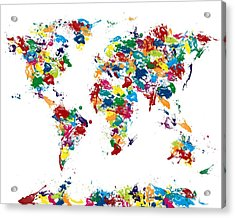World Map Glossy Paint 16 X 20 Acrylic Print by Michael Tompsett