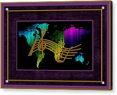 World Map Music Acrylic Print by Daryl Macintyre