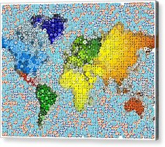 World Map Poker Chips Mosaic Acrylic Print by Paul Van Scott