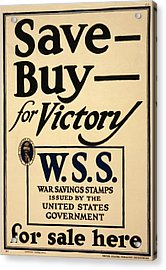 World War I, Poster - Save - Buy - Acrylic Print by Everett