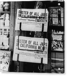 World War II, News Headlines Announcing Acrylic Print by Everett
