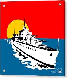 World War Two Battleship Warship Cruiser Retro Acrylic Print by Aloysius Patrimonio