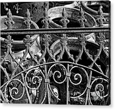 Wrought Iron Gate And Pots Black And White Acrylic Print by Kathleen K Parker