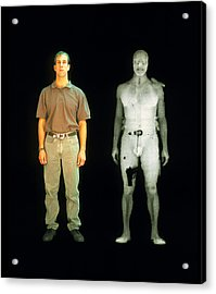 X-ray View Of Man During Bodysearch Surveillance Acrylic Print by American Science & Engineering