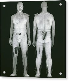 X-ray Views Of Man During Bodysearch Surveillance Acrylic Print by American Science & Engineering