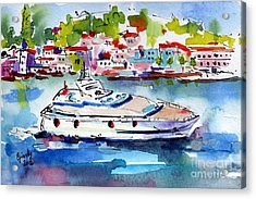 Yachting Off The Coast Of Amalfi Italy Watercolor Acrylic Print by Ginette Callaway