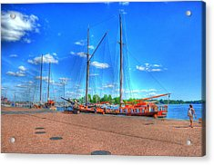Yatchs Acrylic Print by Barry R Jones Jr