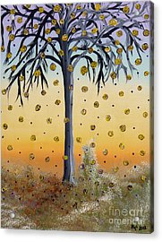 Yellow-blossomed Wishing Tree Acrylic Print by Alys Caviness-Gober