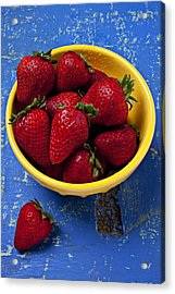 Yellow Bowl Of Strawberries Acrylic Print by Garry Gay