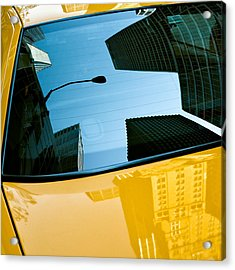 Yellow Cab Big Apple Acrylic Print by Dave Bowman