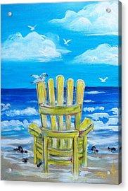 Yellow Chair Acrylic Print by Doralynn Lowe