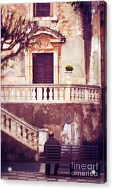 Yellow Flowers In A Vase In Taormina Sicily Acrylic Print by Silvia Ganora