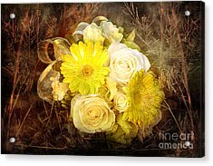 Yellow Gerbera Daisy And White Rose Bridal Bouquet In Nature Setting Acrylic Print by Cindy Singleton