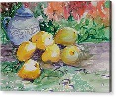 Yellow Pears Acrylic Print by Heidi Patricio-Nadon