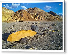 Yellow Rock At Death Valley Acrylic Print by Laurence Matson