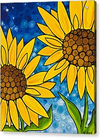 Yellow Sunflowers Acrylic Print by Sharon Cummings