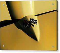 Yellow Vette Badge Acrylic Print by Douglas Pittman