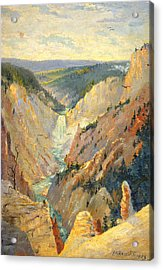 Yellowstone Falls And Hoodoos Acrylic Print by Lewis A Ramsey