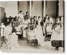 Young African American Women Sewing Acrylic Print by Everett