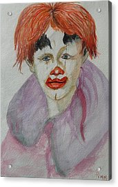 Young Clown Acrylic Print by Betty Pimm
