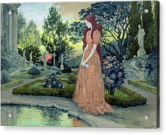 Young Girl In A Garden  Acrylic Print by Eugene Grasset