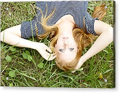 Young Girl On Grass Acrylic Print by Kicka Witte
