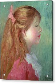 Young Girl With Long Hair In Profile Acrylic Print by Pierre Auguste Renoir