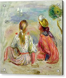 Young Girls On The Beach Acrylic Print by Pierre Auguste Renoir