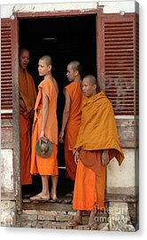 Young Monks Laos 2 Acrylic Print by Bob Christopher
