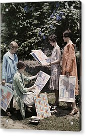 Young Women From Newcomb College Gather Acrylic Print by Edwin L. Wisherd