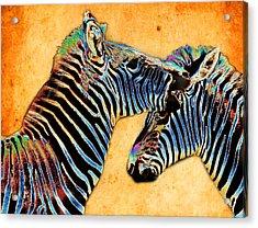 Zebra Tales Acrylic Print by Barbara  White