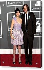 Zooey Deschanel Wearing A Luella Dress Acrylic Print by Everett
