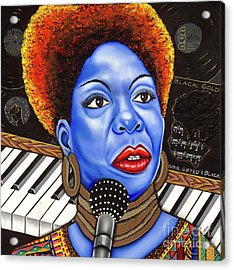 A Part Of Nina Simone Acrylic Print by Nannette Harris
