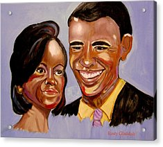 Barak And Michelle Obama   The Power Of Love Acrylic Print by Rusty Woodward Gladdish
