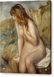 Bather Seated On A Rock Acrylic Print by Pierre Auguste Renoir