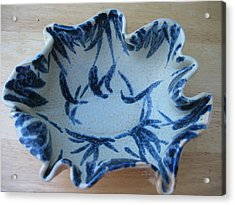 Blue Leafy Bowl Acrylic Print by Julia Van Dine