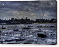 Boats On The Beach In November Acrylic Print by Karo Evans