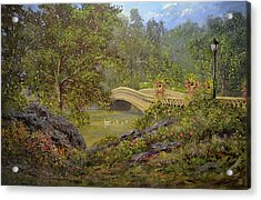 Bow Bridge Central Park Acrylic Print by Michael Mrozik