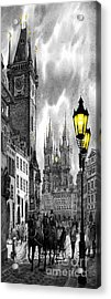 Bw Prague Old Town Squere Acrylic Print by Yuriy  Shevchuk