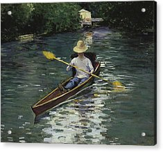 Canoe On The Yerres River Acrylic Print by Gustave Caillebotte