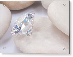 Diamond On White Stone Acrylic Print by Atiketta Sangasaeng