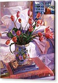 Fresh Tulips Acrylic Print by David Lloyd Glover