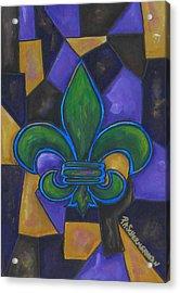 Green Fleur De Lis Acrylic Print by Patti Schermerhorn