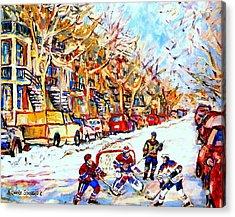 Hockey Game On Colonial Street  Near Roy Montreal City Scene Acrylic Print by Carole Spandau