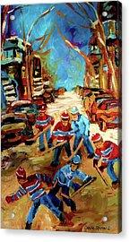 Hockey Paintings Of Montreal St Urbain Street Winterscene Acrylic Print by Carole Spandau