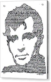 Jack Kerouac Black And White Word Portrait Acrylic Print by Kato Smock
