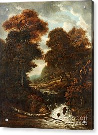 Landscape With Figures And Waterfall. Acrylic Print by Jacob Van Ruisdae